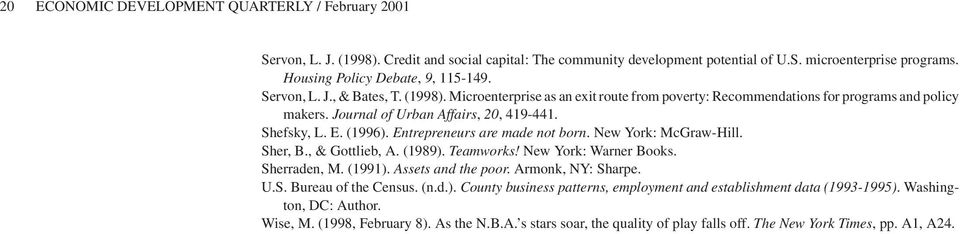 Journal of Urban Affairs, 20, 419-441. Shefsky, L. E. (1996). Entrepreneurs are made not born. New York: McGraw-Hill. Sher, B., & Gottlieb, A. (1989). Teamworks! New York: Warner Books. Sherraden, M.