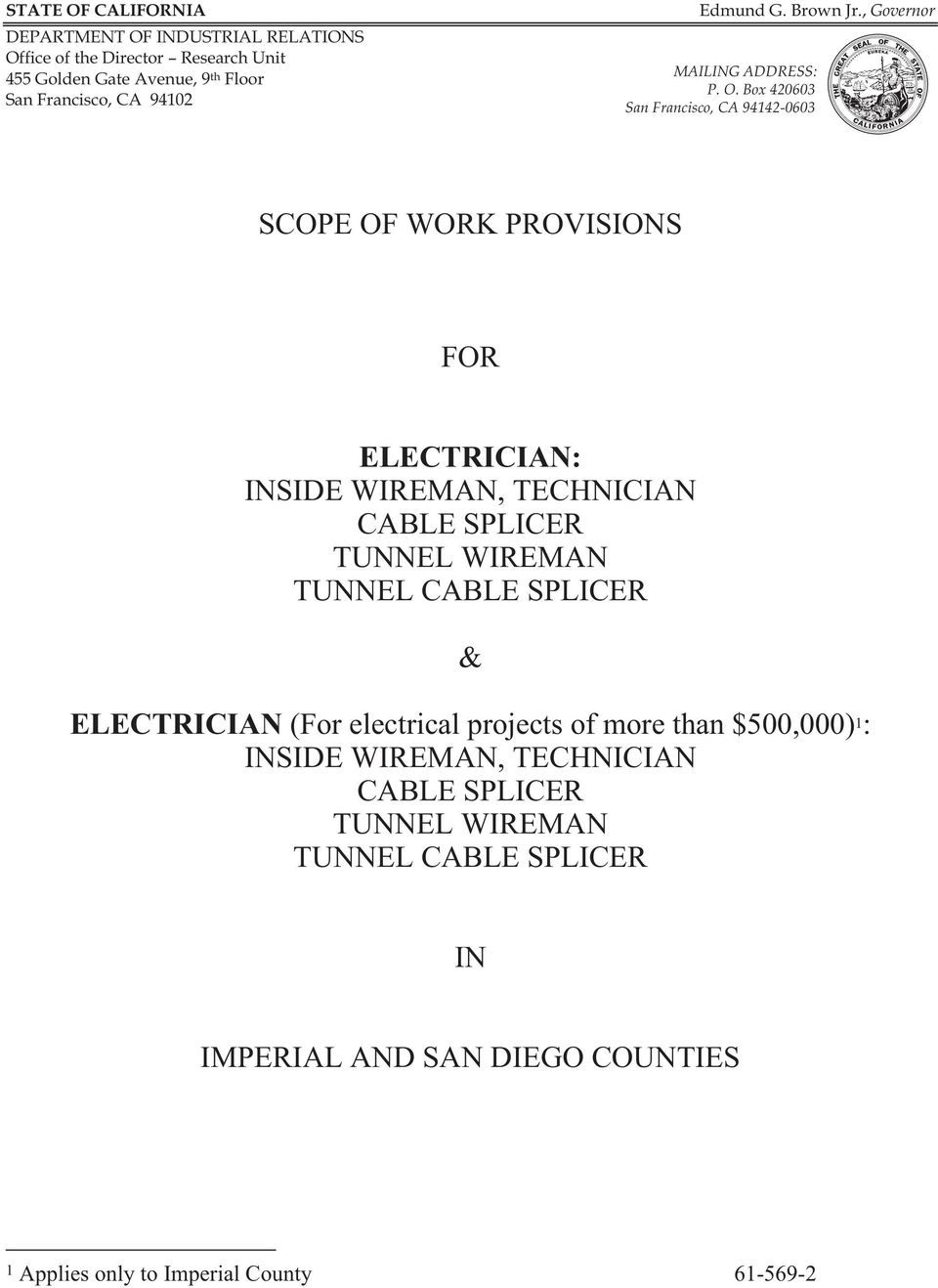Box 420603 San Francisco, CA 94142-0603 SCOPE OF WORK PROVISIONS FOR ELECTRICIAN: INSIDE WIREMAN, TECHNICIAN CABLE SPLICER TUNNEL WIREMAN TUNNEL