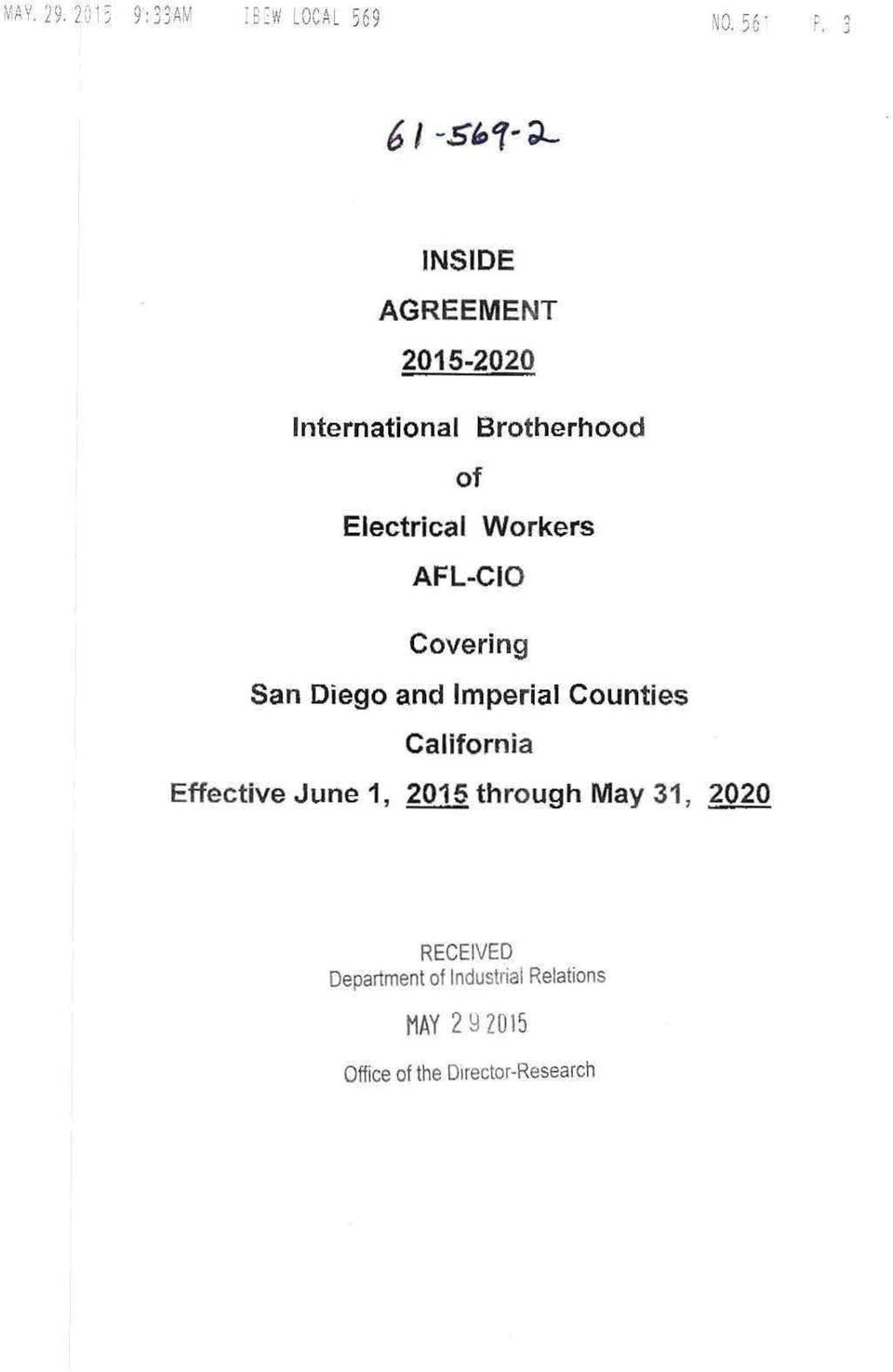 AFL-CIO Covering San Diego and Imperial Counties California Effective June 1, 2015