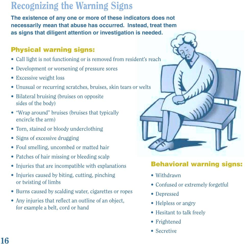 Physical warning signs: Call light is not functioning or is removed from resident s reach Development or worsening of pressure sores Excessive weight loss Unusual or recurring scratches, bruises,