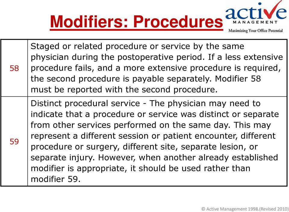 Distinct procedural service - The physician may need to indicate that a procedure or service was distinct or separate from other services performed on the same day.