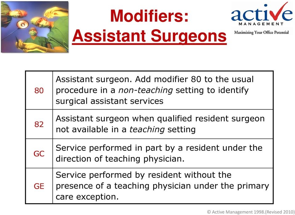 Assistant surgeon when qualified resident surgeon not available in a teaching setting Service performed in