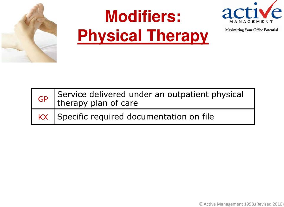 outpatient physical therapy plan of