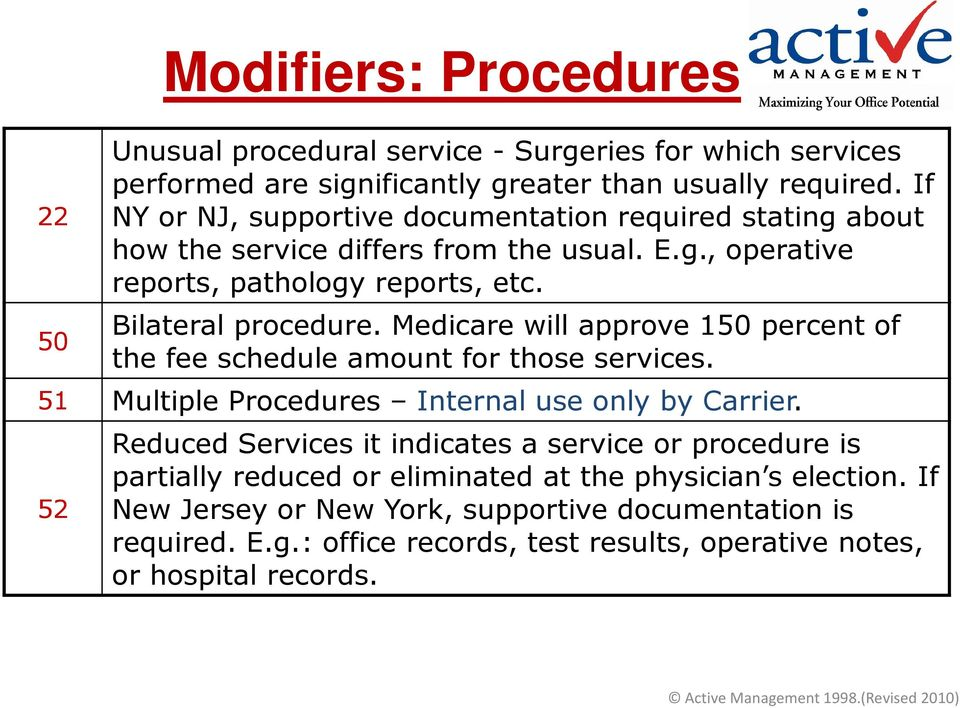 Medicare will approve 150 percent of the fee schedule amount for those services. 51 Multiple Procedures Internal use only by Carrier.