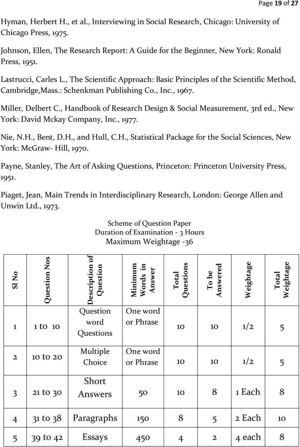 : Schenkman Publishing Co., Inc., 1967. Miller, Delbert C., Handbook of Research Design & Social Measurement, 3rd ed., New York: David Mckay Company, Inc., 1977. Nie, N.H., Bent, D.H., and Hull, C.H., Statistical Package for the Social Sciences, New York: McGraw- Hill, 1970.