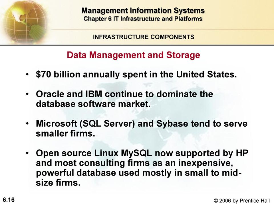 Microsoft (SQL Server) and Sybase tend to serve smaller firms.