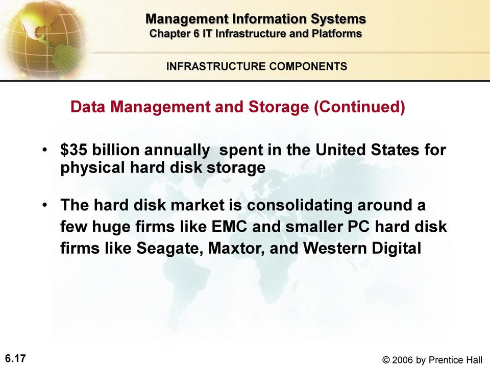 disk market is consolidating around a few huge firms like EMC and smaller PC