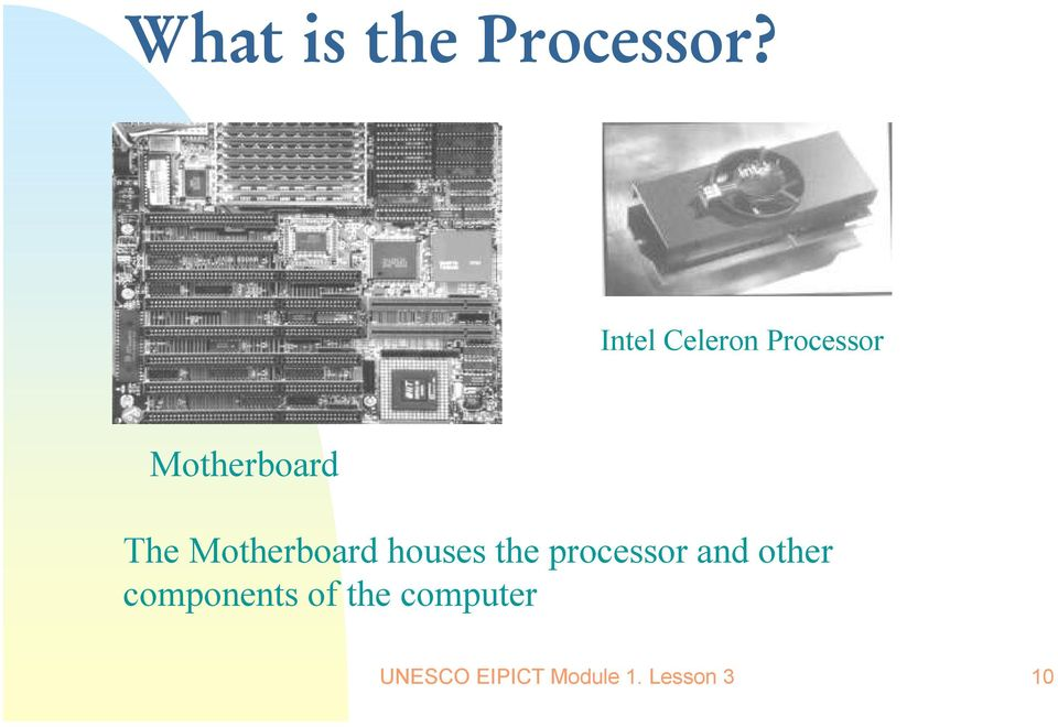 Motherboard houses the processor and
