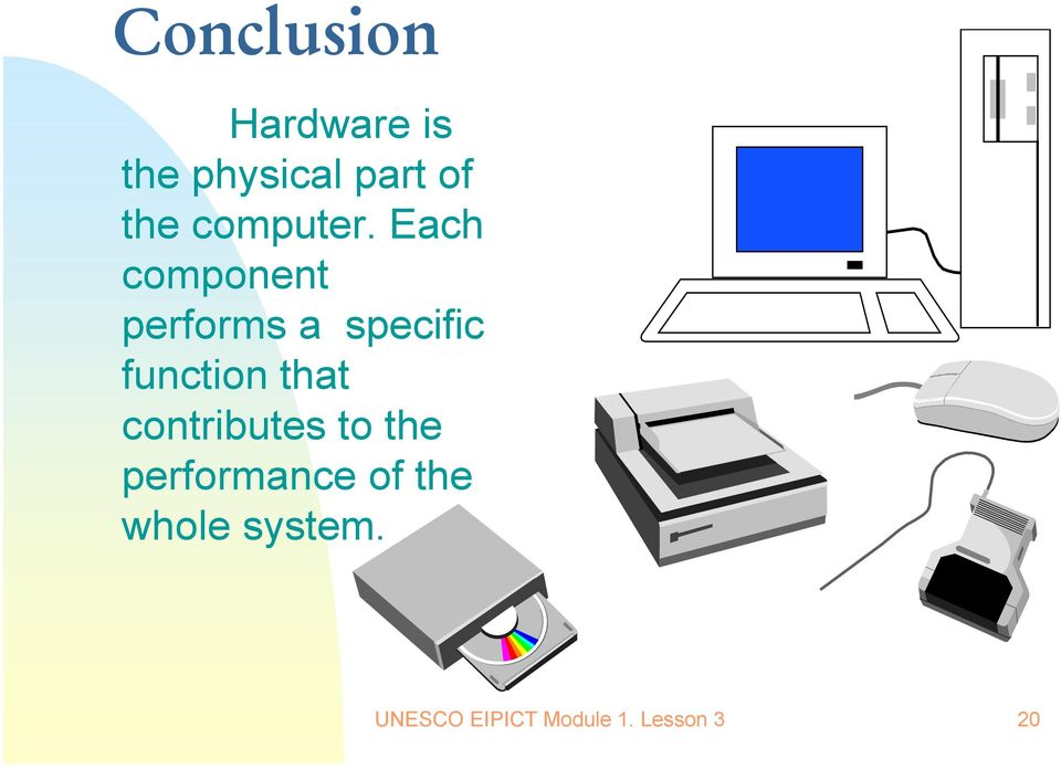 Each component performs a specific function that