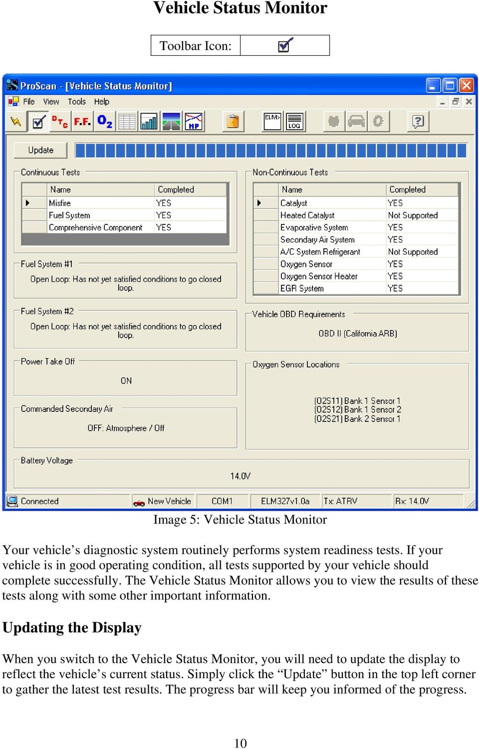 The Vehicle Status Monitor allows you to view the results of these tests along with some other important information.
