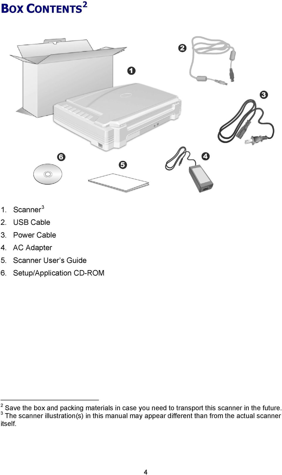 Setup/Application CD-ROM 2 Save the box and packing materials in case you need