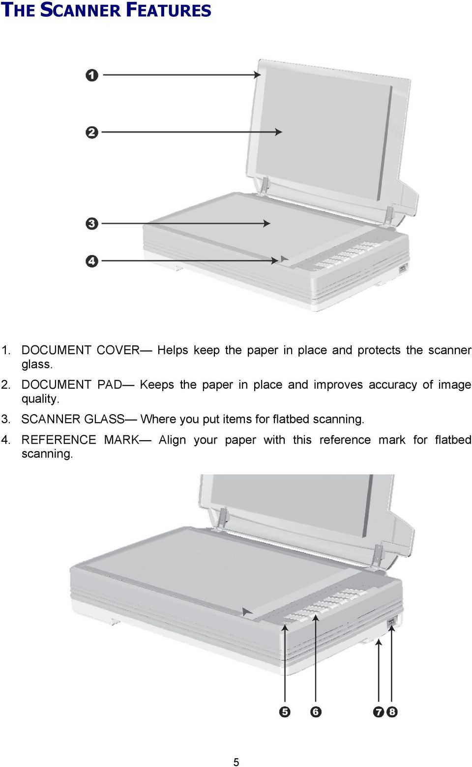 DOCUMENT PAD Keeps the paper in place and improves accuracy of image quality. 3.