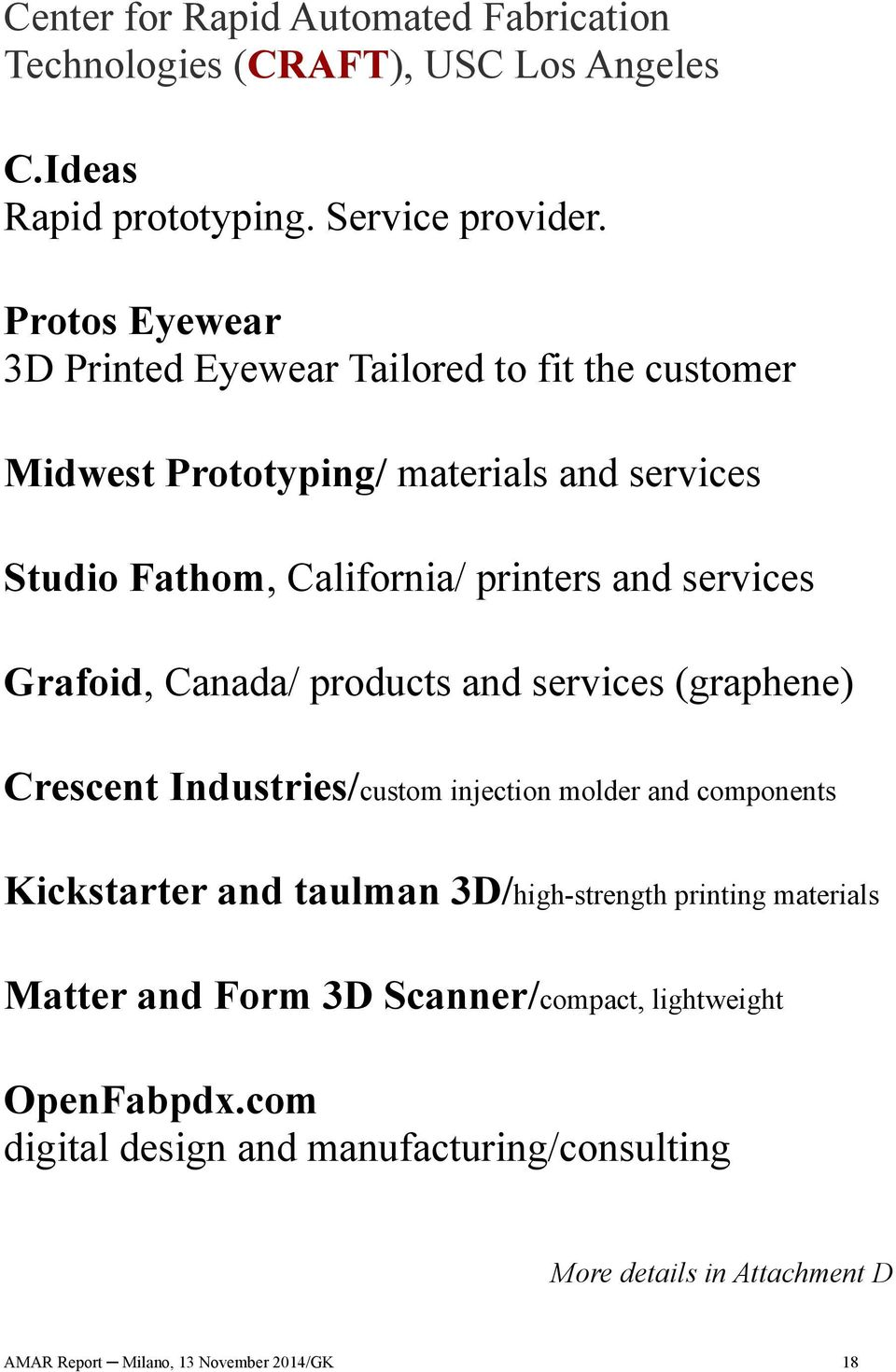Grafoid, Canada/ products and services (graphene) Crescent Industries/custom injection molder and components Kickstarter and taulman 3D/high-strength