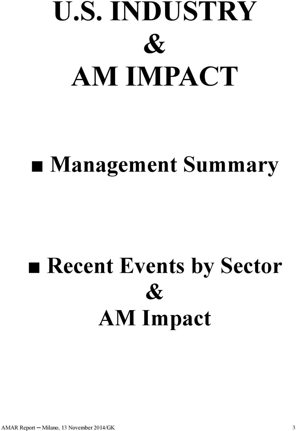 Events by Sector & AM Impact
