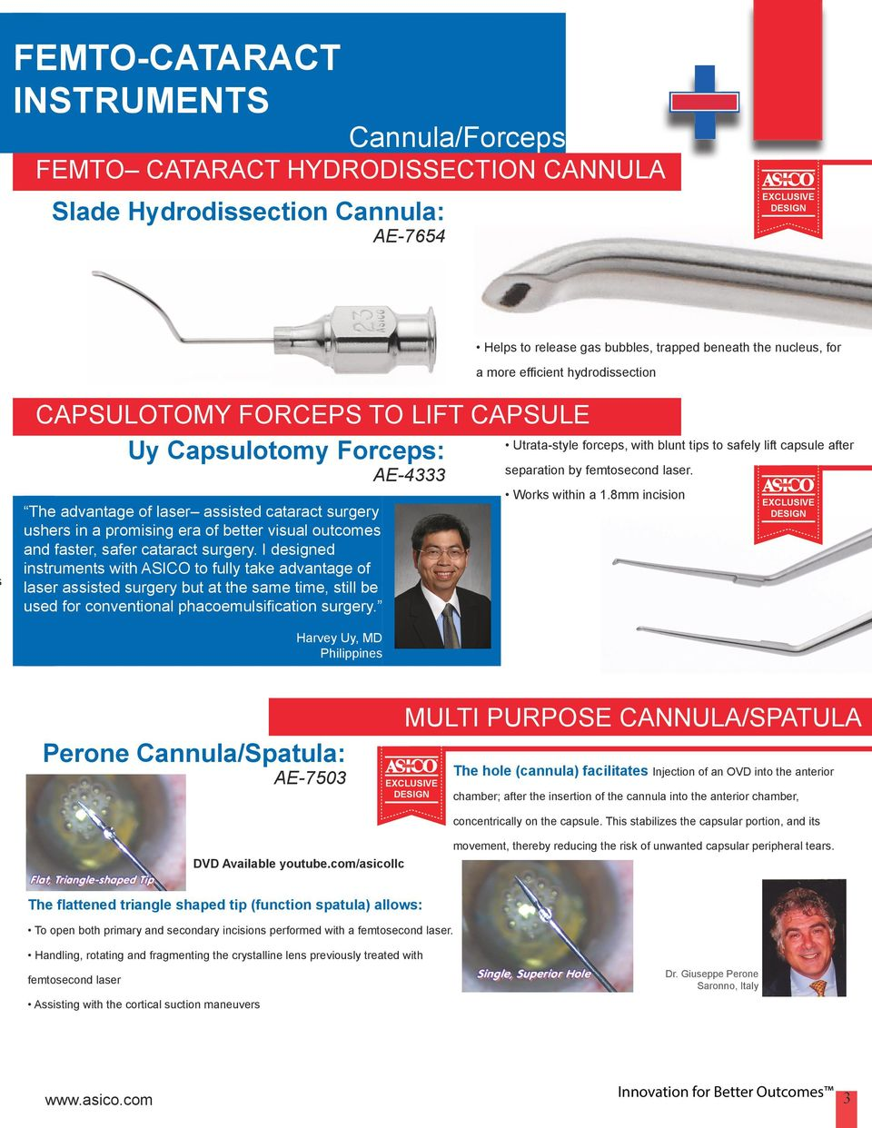 I designed instruments with ASICO to fully take advantage of laser assisted surgery but at the same time, still be used for conventional phacoemulsification surgery.