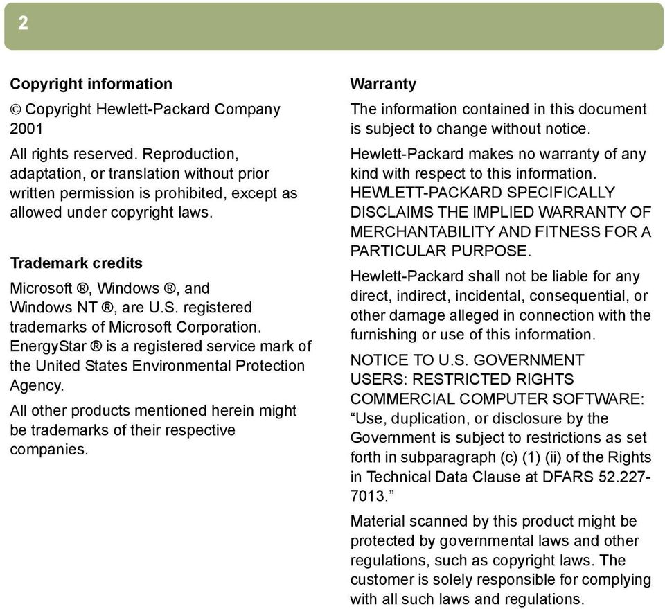 registered trademarks of Microsoft Corporation. EnergyStar is a registered service mark of the United States Environmental Protection Agency.