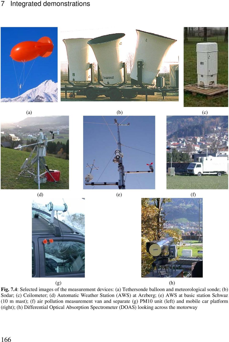 (c) Ceilometer; (d) Automatic Weather Station (AWS) at Arzberg; (e) AWS at basic station Schwaz (10 m mast);