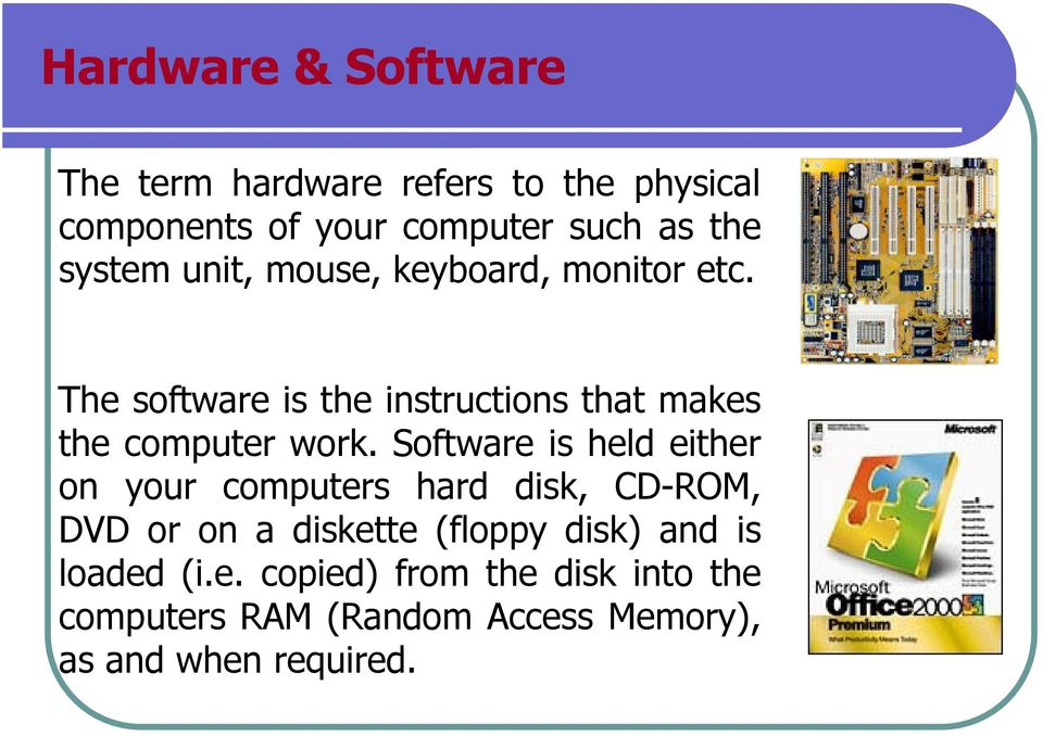 The software is the instructions that makes the computer work.