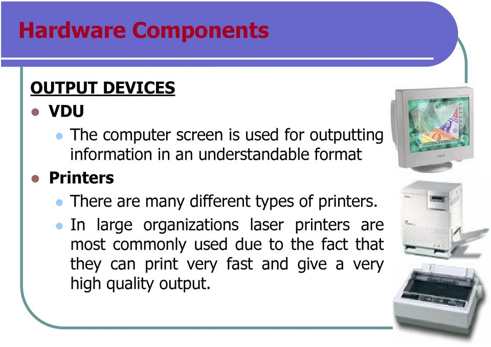 different types of printers.