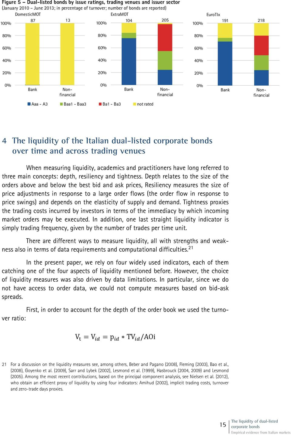 the Italian dual-listed corporate bonds over time and across trading venues When measuring liquidity, academics and practitioners have long referred to three main concepts: depth, resiliency and
