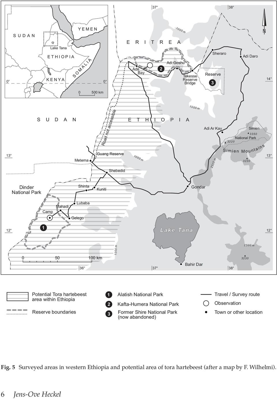 Lubaba Gelego 12 1 12 0 50 36 100 km 1000 m 37 Bahir Dar 38 2500 m 3230 Potential Tora hartebeest area within Ethiopia Reserve boundaries 1 2 3 Alatish National Park Kafta-Humera National Park Former