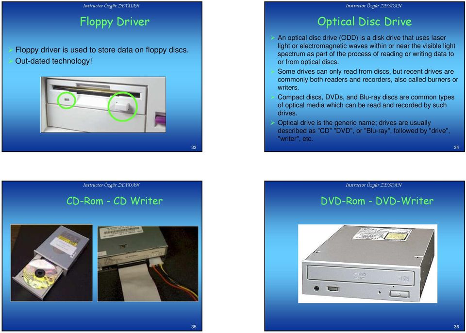 reading or writing data to or from optical discs. Some drives can only read from discs, but recent drives are commonly both readers and recorders, also called burners or writers.
