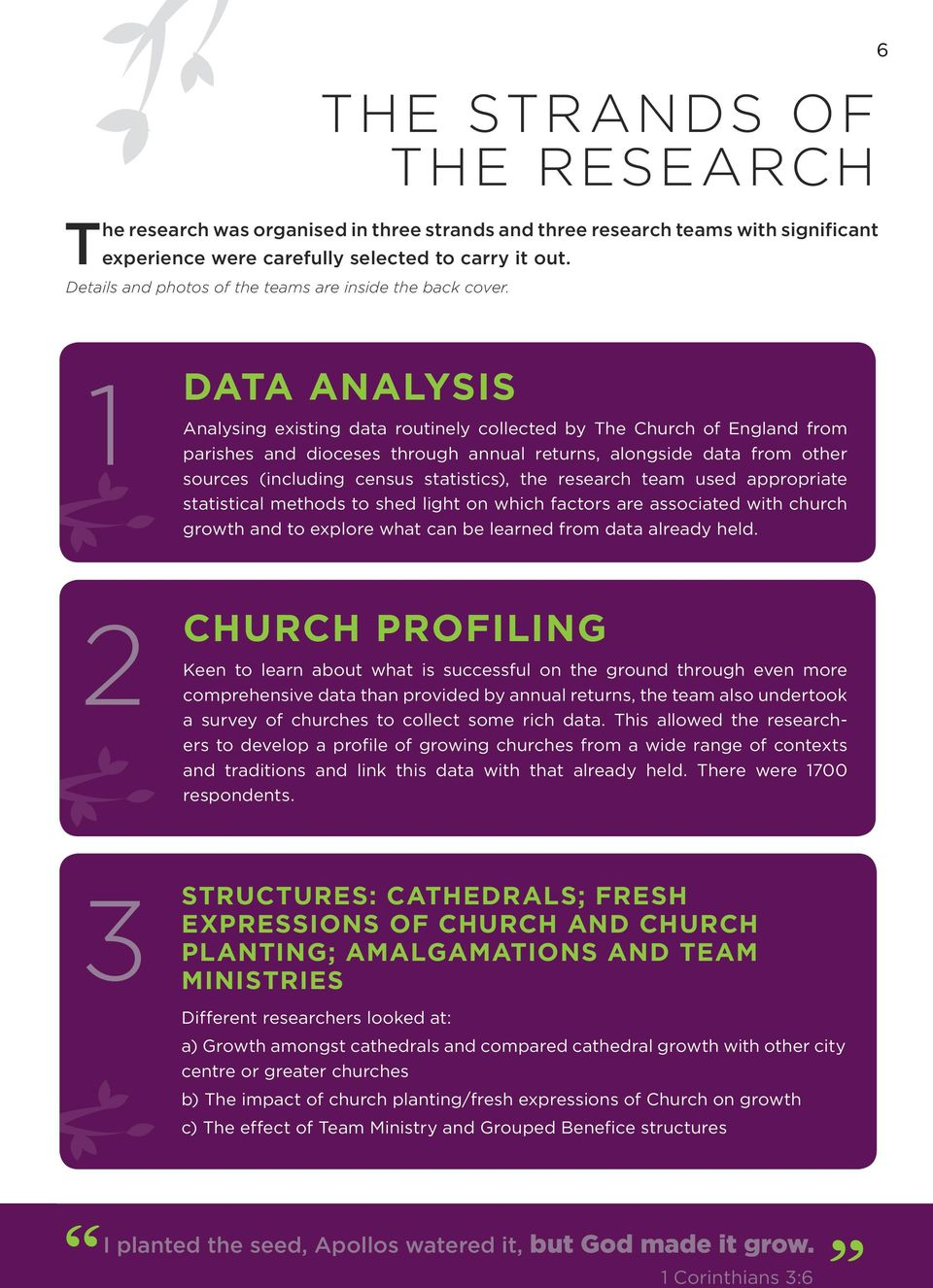 6 1 DATA ANALYSIS Analysing existing data routinely collected by The Church of England from parishes and dioceses through annual returns, alongside data from other sources (including census