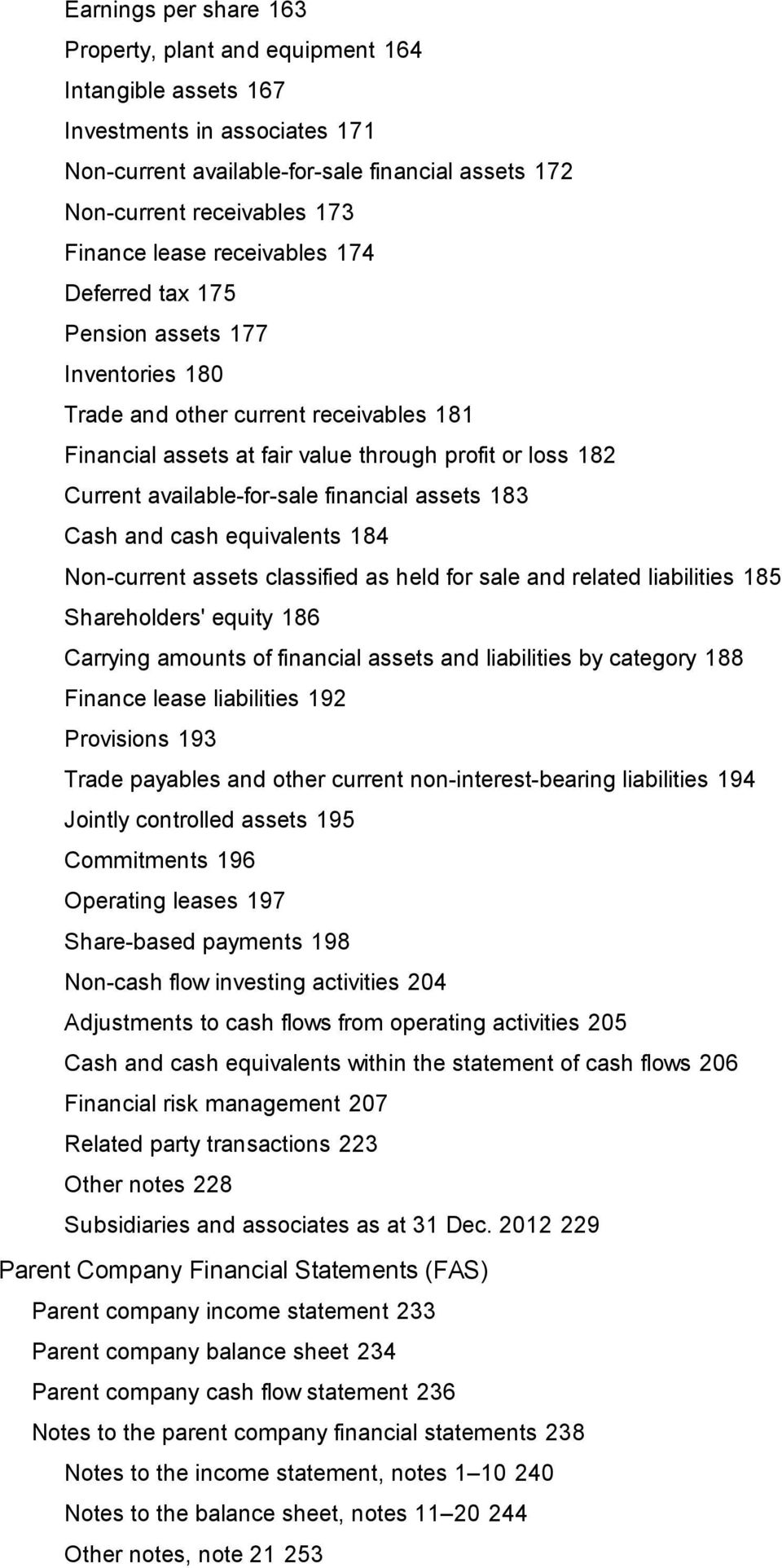 financial assets 183 Cash and cash equivalents 184 Non-current assets classified as held for sale and related liabilities 185 Shareholders' equity 186 Carrying amounts of financial assets and