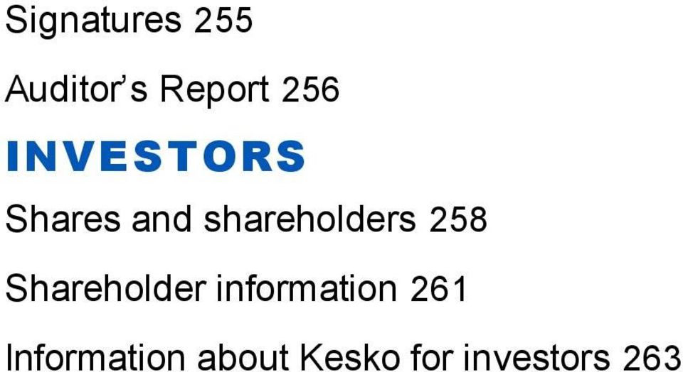 258 Shareholder information 261
