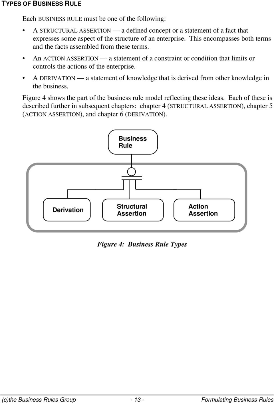 A DERIVATION a statement of knowledge that is derived from other knowledge in the business. Figure 4 shows the part of the business rule model reflecting these ideas.
