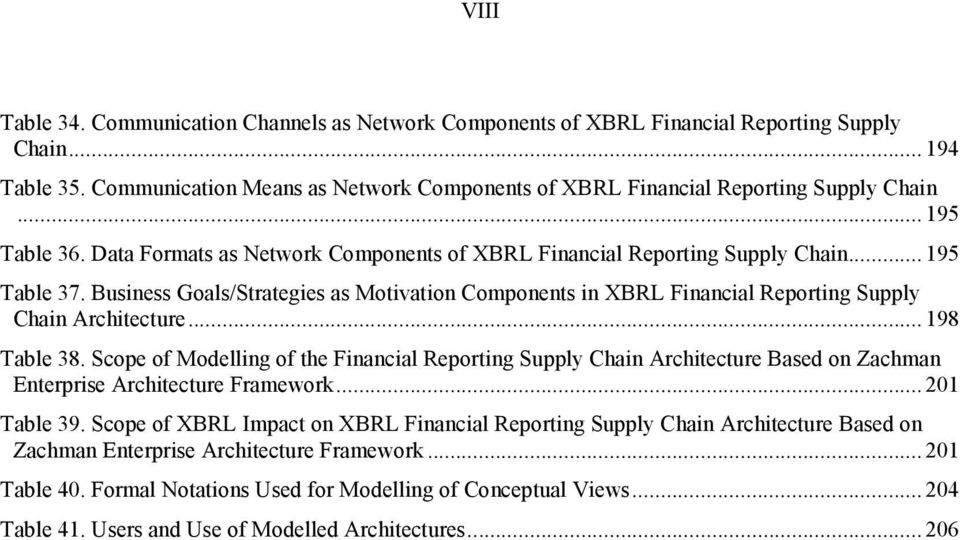 Business Goals/Strategies as Motivation Components in XBRL Financial Reporting Supply Chain Architecture... 198 Table 38.