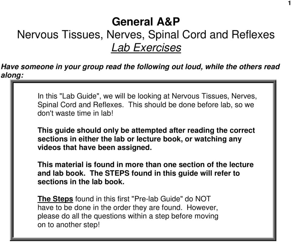 This guide should only be attempted after reading the correct sections in either the lab or lecture book, or watching any videos that have been assigned.