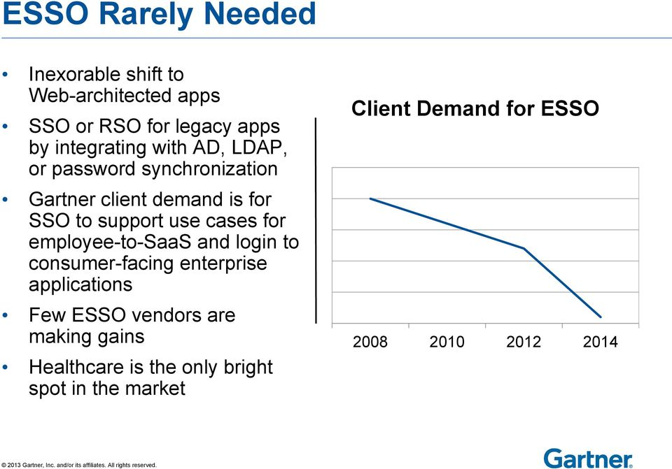 use cases for employee-to-saas and login to consumer-facing enterprise applications Few ESSO