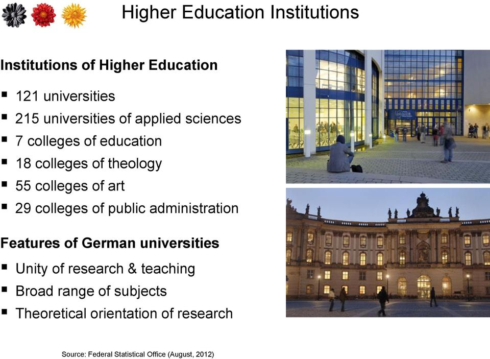 colleges of public administration Features of German universities Unity of research & teaching