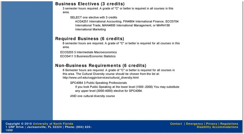 "Required Business (6 credits) 6 semester hours are required. A grade of ""C"" or better is required for all courses in this area."