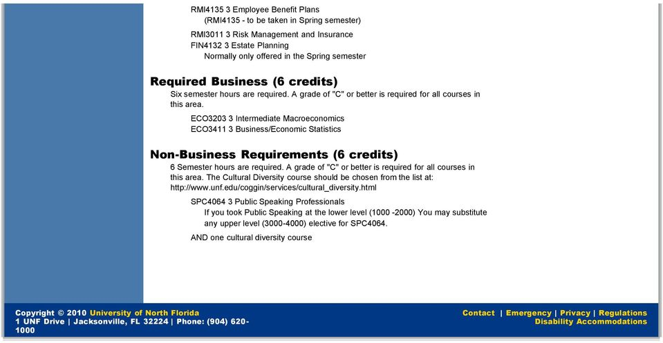 ECO3203 3 Intermediate Macroeconomics ECO3411 3 Business/Economic Statistics Non-Business Requirements (6 credits) 6 Semester hours are required.