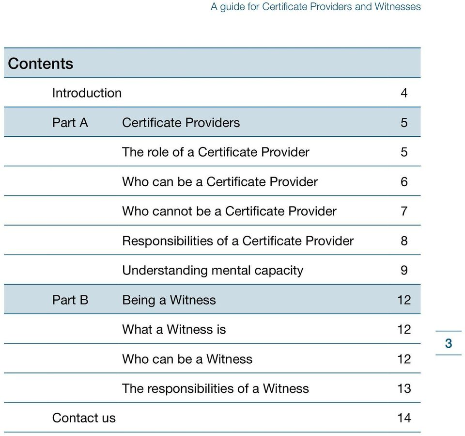 of a Certificate Provider 8 Understanding mental capacity 9 Part B Being a Witness 12 What