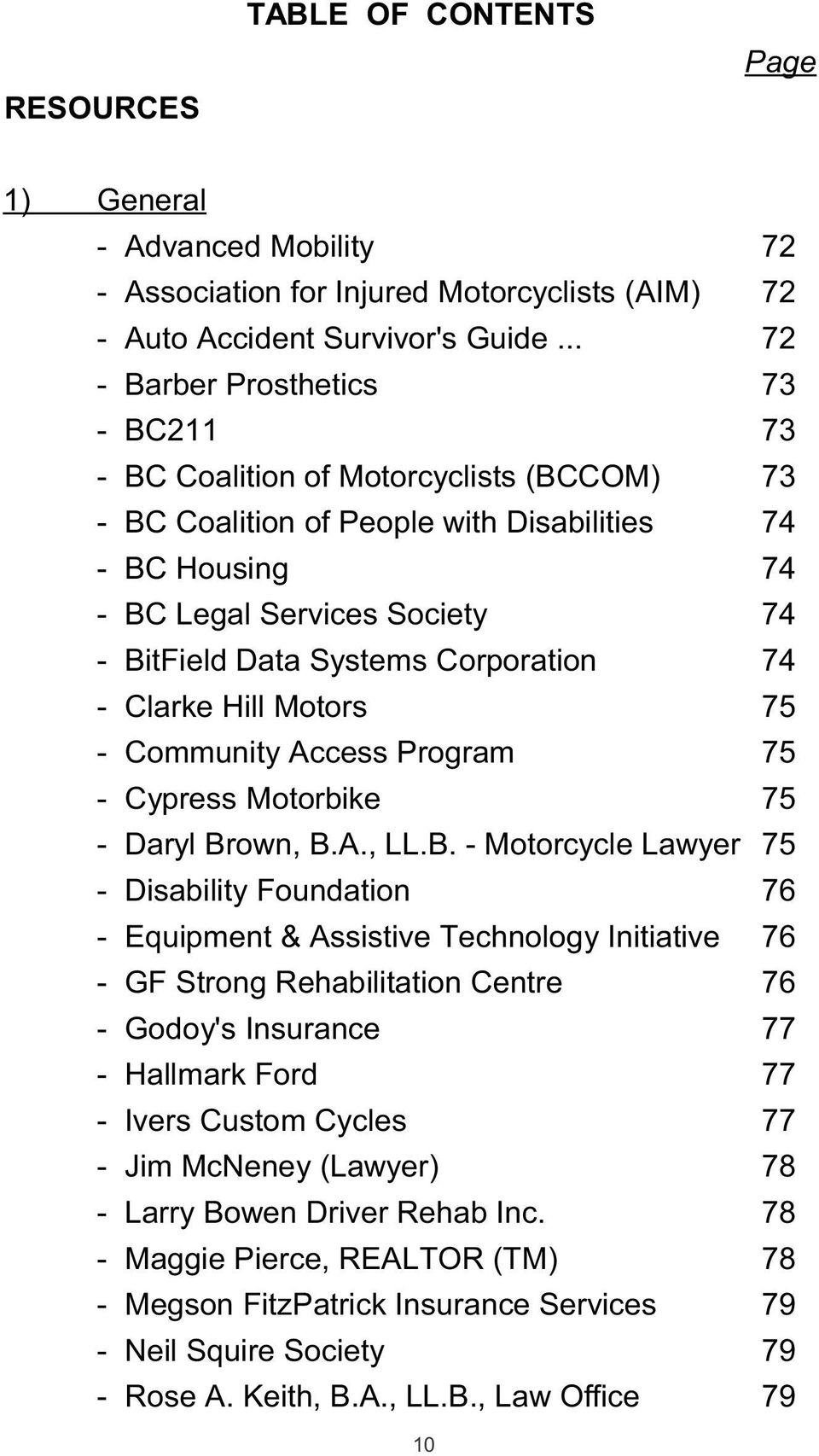 Systems Corporation 74 - Clarke Hill Motors 75 - Community Access Program 75 - Cypress Motorbike 75 - Daryl Br