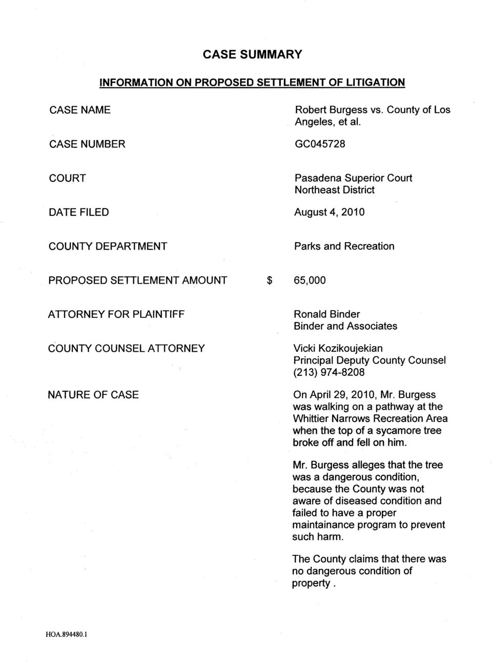 ATTORNEY NATURE OF CASE Ronald Binder Binder and Associates Vicki Kozikoujekian Principal Deputy County Counsel (213) 974-8208 On April 29, 2010, Mr.