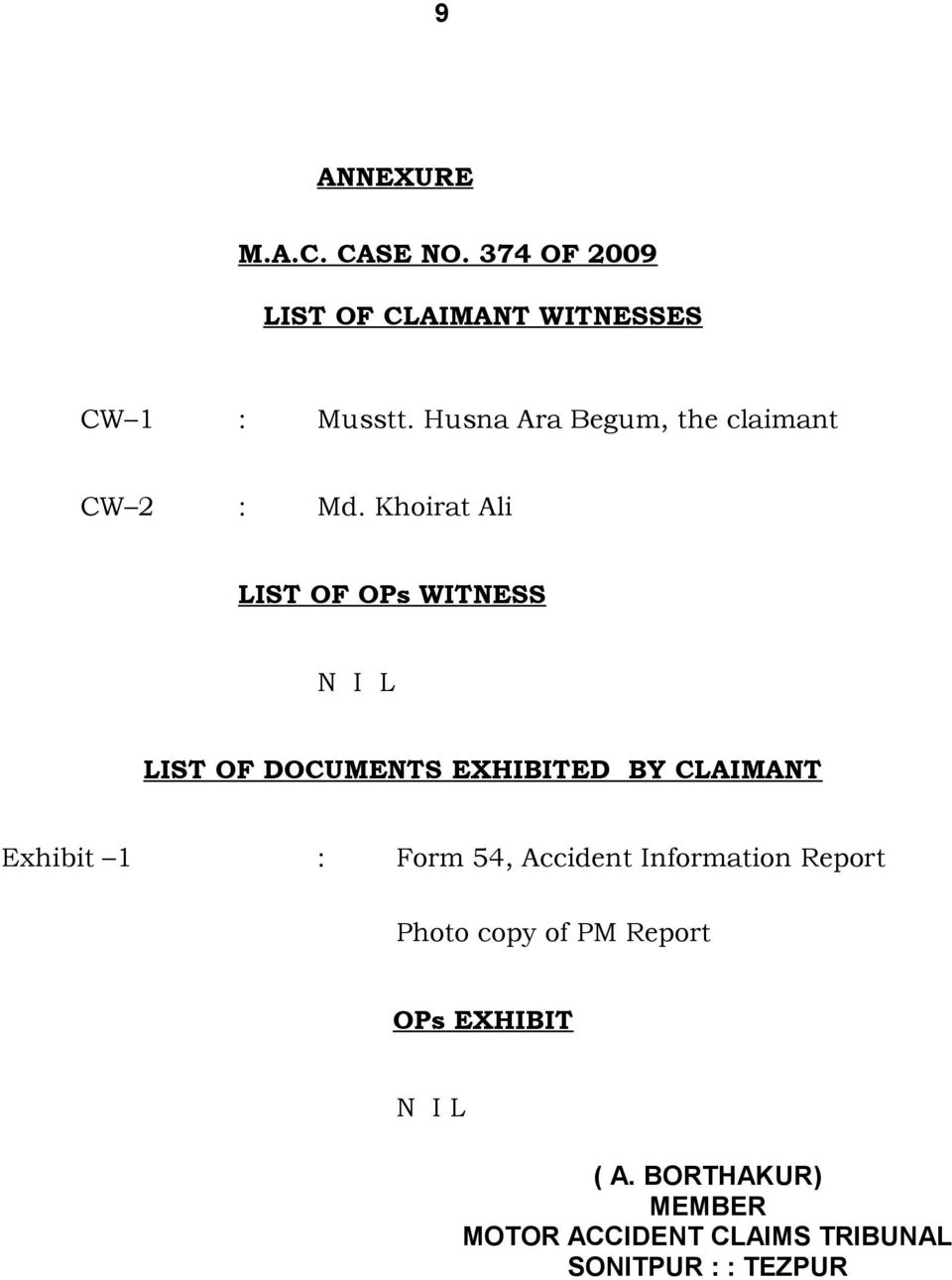 Khoirat Ali LIST OF OPs WITNESS N I L LIST OF DOCUMENTS EXHIBITED BY CLAIMANT Exhibit 1 :
