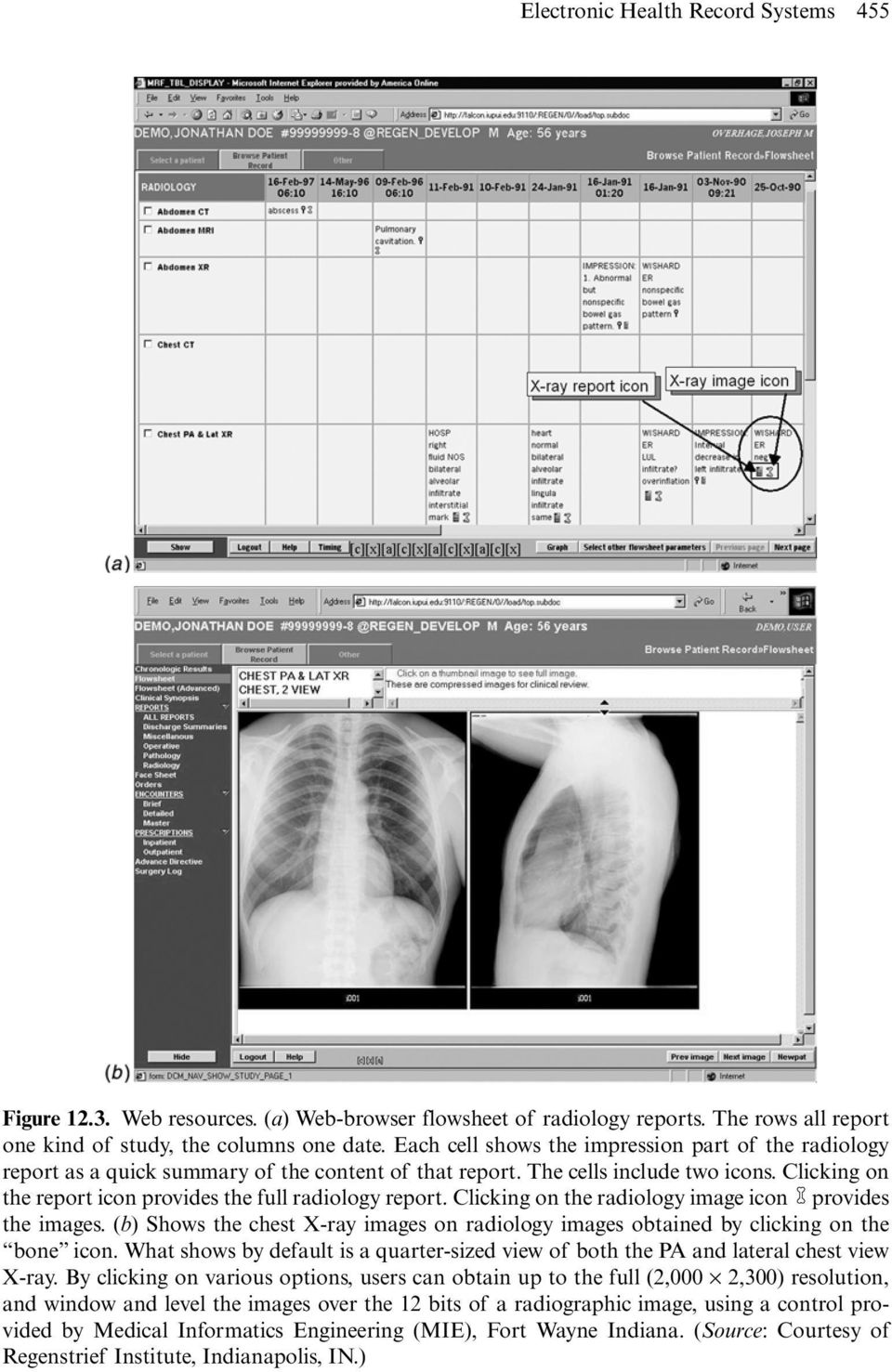 Clicking on the report icon provides the full radiology report. Clicking on the radiology image icon provides the images.