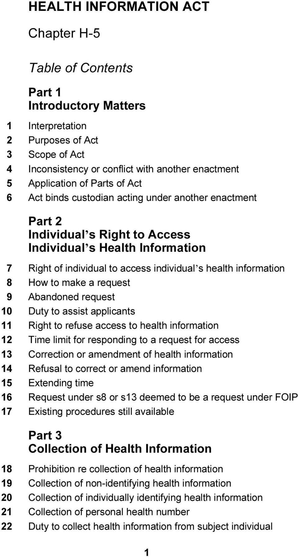 a request 9 Abandoned request 10 Duty to assist applicants 11 Right to refuse access to health information 12 Time limit for responding to a request for access 13 Correction or amendment of health