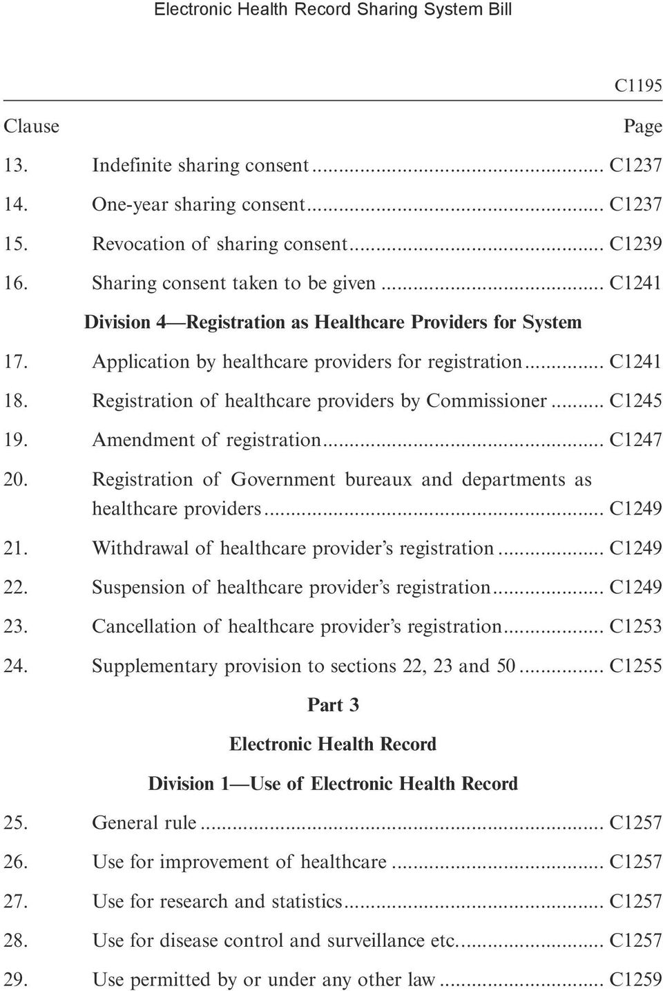.. C1245 19. Amendment of registration... C1247 20. Registration of Government bureaux and departments as healthcare providers... C1249 21. Withdrawal of healthcare provider s registration... C1249 22.