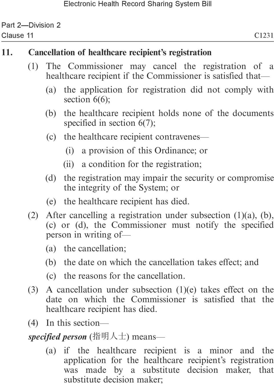 registration did not comply with section 6(6); (b) the healthcare recipient holds none of the documents specified in section 6(7); (c) the healthcare recipient contravenes (i) a provision of this