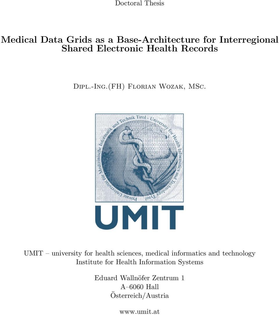 UMIT university for health sciences, medical informatics and technology Institute