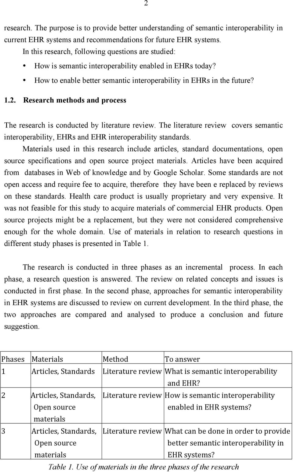 Research methods and process The research is conducted by literature review. The literature review covers semantic interoperability, EHRs and EHR interoperability standards.