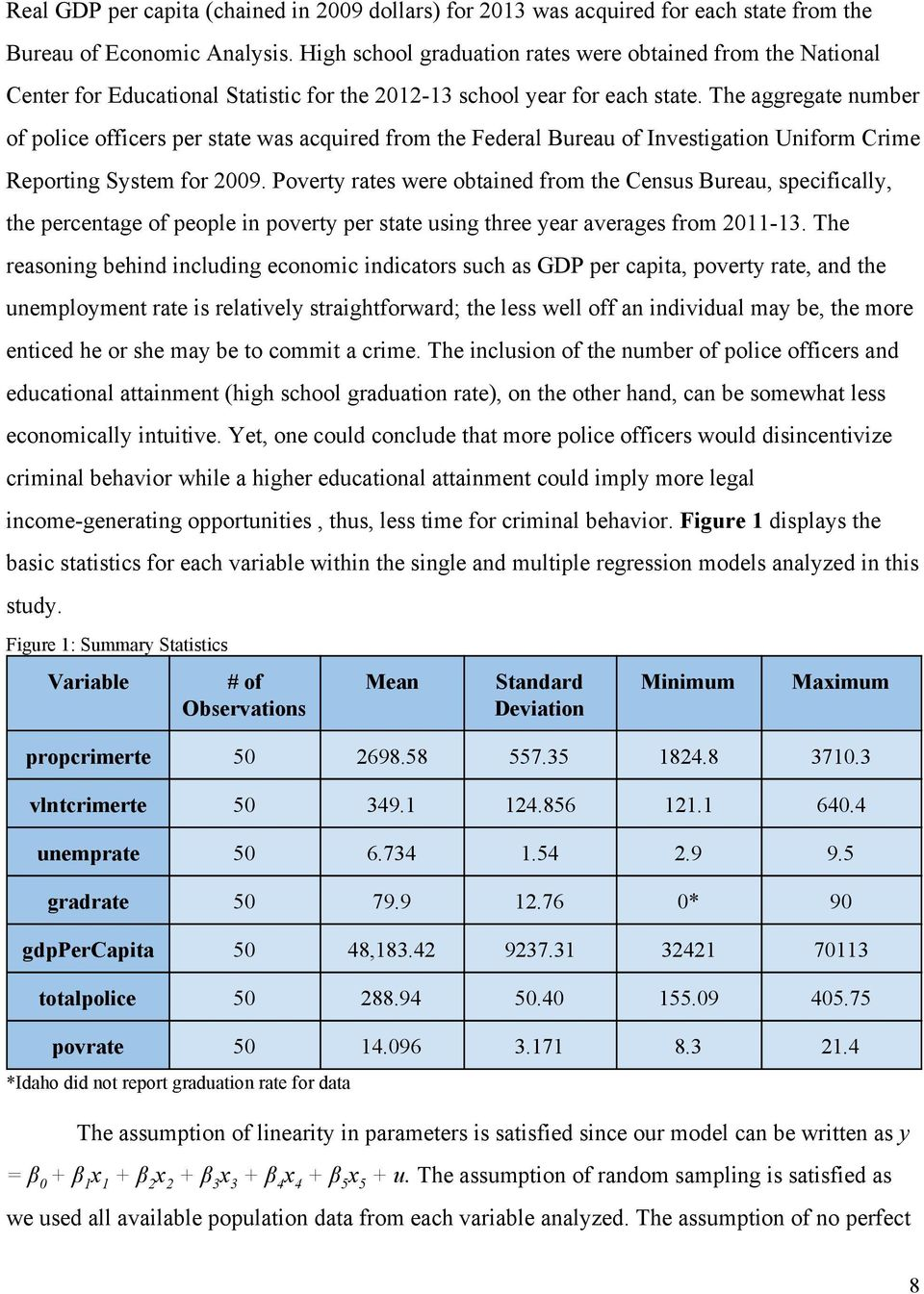 The aggregate number of police officers per state was acquired from the Federal Bureau of Investigation Uniform Crime Reporting System for 2009.