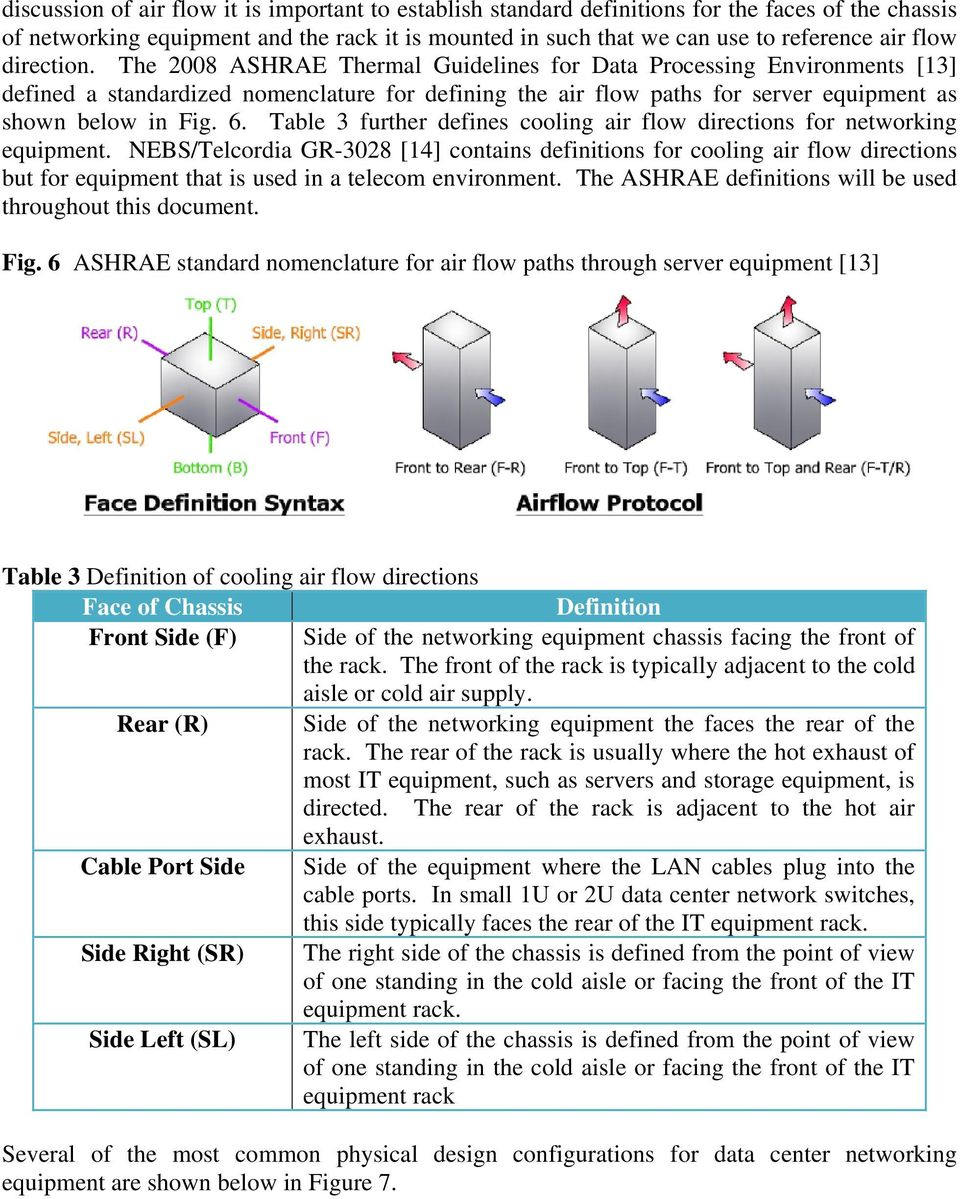 Table 3 further defines cooling air flow directions for networking equipment.