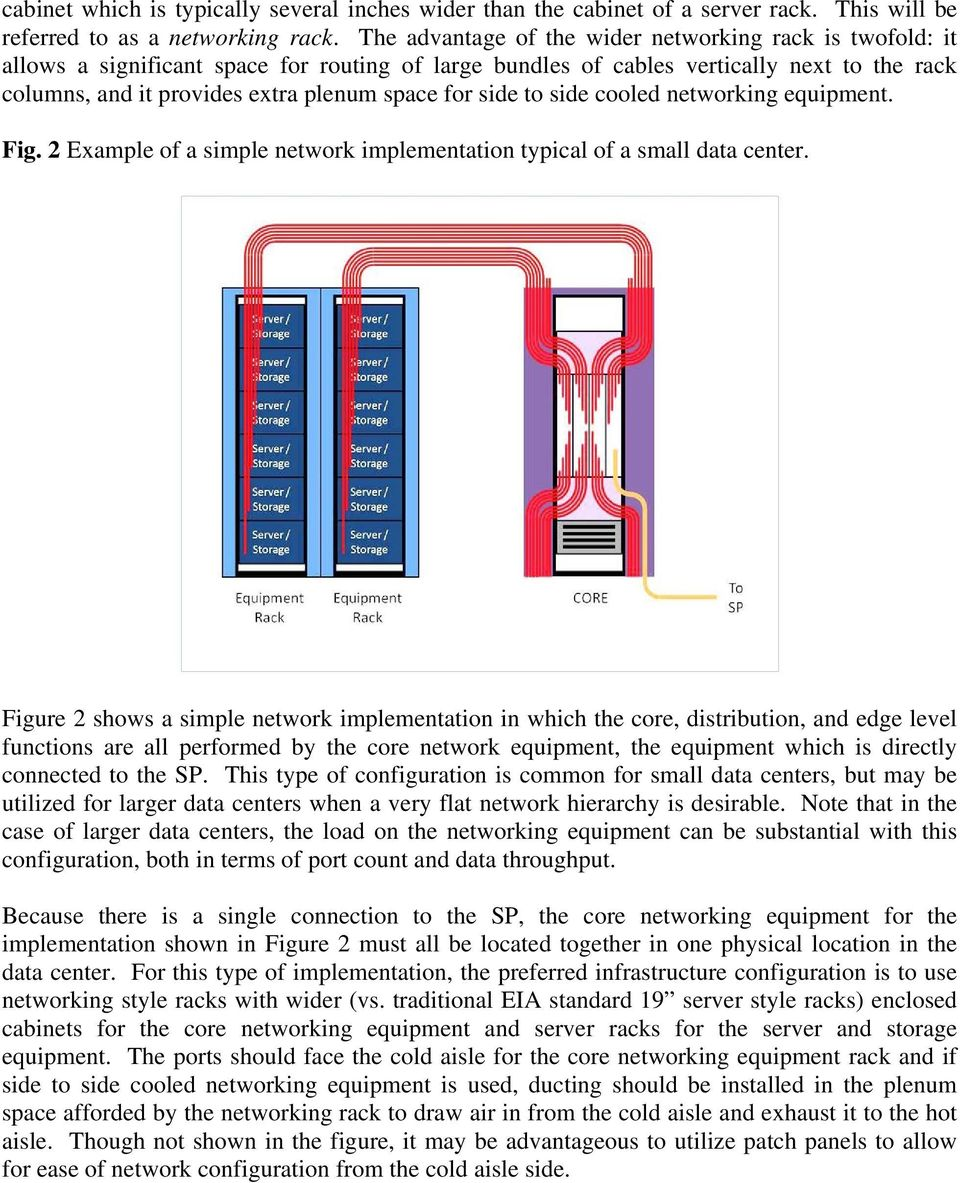 side to side cooled networking equipment. Fig. 2 Example of a simple network implementation typical of a small data center.