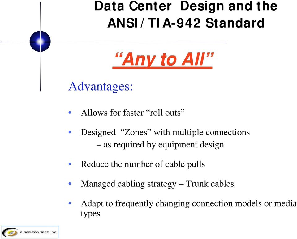 design Reduce the number of cable pulls Managed cabling strategy